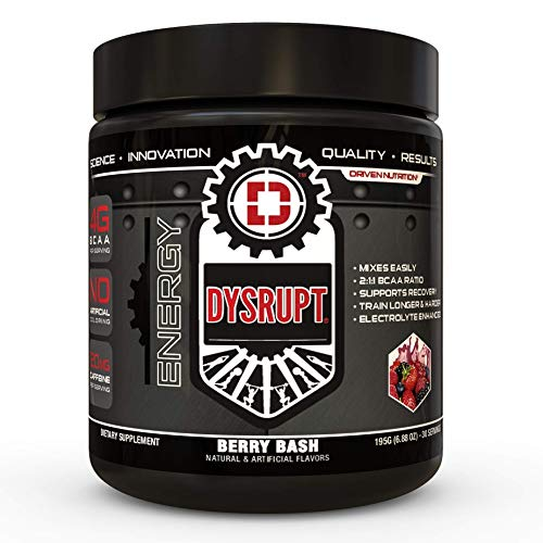 DYSRUPT: BCAA + Caffeine with Electrolytes: Sugar & Gluten Free Supplement- Improve Recovery, Burn More Fat, Increase Endurance, and Achieve Greater Focus (Berry Bash)