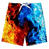 ALISISTER Boys Swim Shorts Size 12 Youth Kids Ice Fire Board Trunks Quick Dry Boardshorts Bathing Suit with Drawstring Smoke Swimwear Mesh Lining Hawaiian Summer Clothing Lightweight 11T Blue