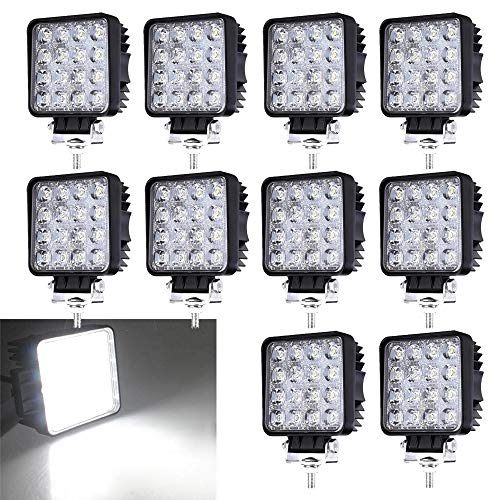 Lot de 10 Phares de Travail LED 48W 12V 24V Projecteur Offroad Phare de Recul IP67 6500K 4320lm