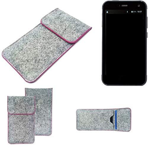 K-S-Trade Handy Schutz Hülle Für Cyrus CS 28 Schutzhülle Handyhülle Filztasche Pouch Tasche Hülle Sleeve Filzhülle Hellgrau Pinker Rand