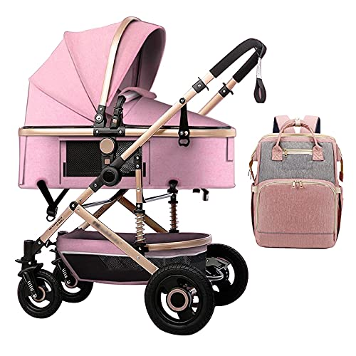 Luxury 3 in 1 Baby Pram Stroller Carriage Travel System Foldable High Landscape Anti-Shock Newborn Baby Strollers with Stroller Organizer for Large Mommy Bag (Color : Pink)