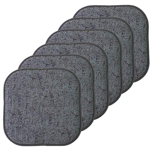 Sweet Home Collection Chair Cushion Memory Foam Pads Honeycomb Pattern Slip Non Skid Rubber Back Rounded Square 16' x 16' Seat Cover, 6 Pack, Broadway Multi Blue
