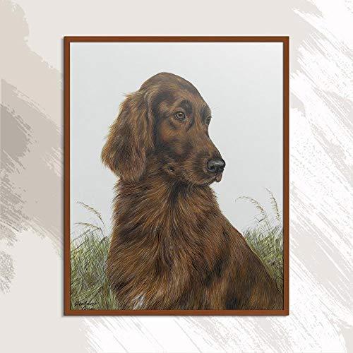 YWOHP Perro Animal Europa Impresión Sin Marco Pintura al óleo Lienzo Sin Marco Bufanda de Cocina Cuadrado no Dibujado a Mano -50x70cm