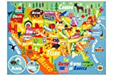 KC CUBS Playtime Collection USA United States Map Educational Learning & Game Area Rug Carpet for Kids and Children Bedrooms and Playroom (3'3' x 4'7')