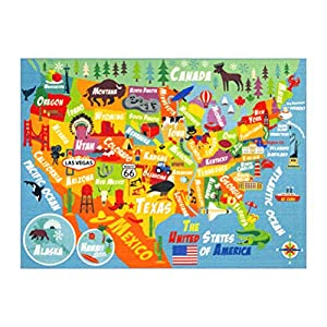 "KC Cubs Playtime Collection USA United States Map Educational Learning & Game Area Rug Carpet for Kids and Children Bedrooms and Playroom (8'2″ x 9'10""), Multi"