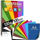 100 Blatt TONPAPIER - Buntes Papier DIN A4-130g/m² Set 10 Farben – Stabil Bastelpapier & Farbige...