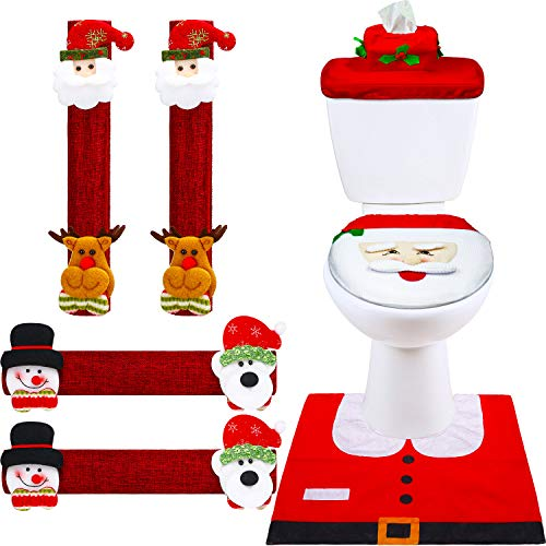 Boao 7 Pieces Christmas Decorations Set Snowman Refrigerator Handle Door Covers, Christmas Snowman Santa Toilet Seat Cover for Bathroom Kitchen Appliance Decorations