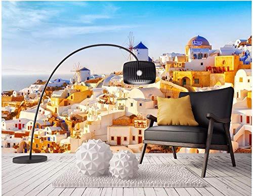 Fotomurales 150x105 cm 3 Strips Santorini Grecia Mar Romántico Papel pintado tejido no tejido Decoración de Pared decorativos Murales moderna Diseno Arte de la pared