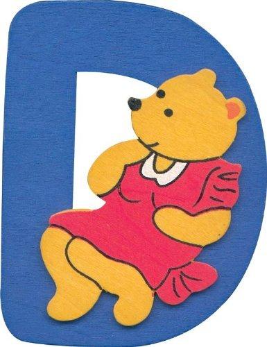 Alphabet Lettre D en bois avec design ourson