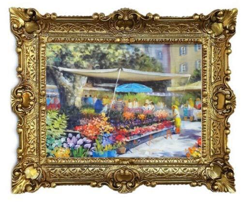 Lnxp Prachtig schilderij marktplaats bloemenstand bloemen kunstwerken 56x46 cm barok antiek repro lijst bloemen vaas bloemenparadise
