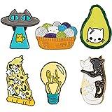 Outus 13 Pieces Cute Enamel Pin Lapel Pins Cat Enamel Pin Mini Cartoon Brooch Pin for Backpacks Jacket Shirt Hat Accessory