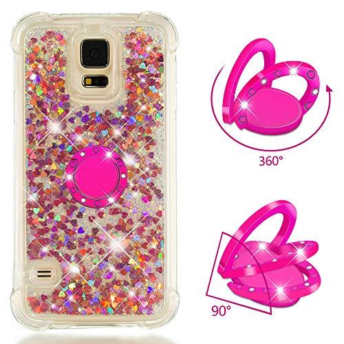 ZCXG Kompatibel Mit Handyhülle Samsung Galaxy S5 Hülle Silikon Transparent Glitzer Liquid Hülle mit Ring Strass Diamant Slim Stoßfest Kratzfest Flexibles Schutzhülle TPU Bumper Case,Rose Gold