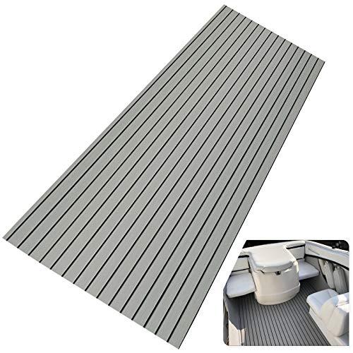 90x240cm Eva-Schaum Deckbeschläge für Boote Yacht Marine Bodenbelag Rutschfester Teppich Mit Kleberücken,Grey Stripe Faux Teak Bodenbelag