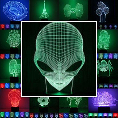 3D Lampe 3D Leuchte 3D LED Stimmungslicht. 7 Farben - Auswahl aus 81 verschiedenen Motiven, hier Alien ca. 24x13cm Inkl.sockel - 3D Illusion Dekolicht mit USB Anschluß und 220V USB Netzteil