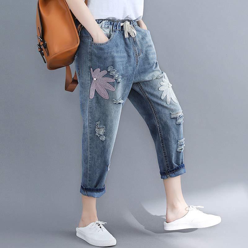 胖mm大码女装韩版显瘦适合大腿根粗的破洞牛仔九分哈伦裤子直筒蓝色 S