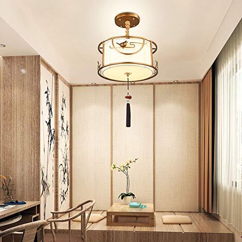 MGWA Lámpara de araña The New Study Chinese Restaurant Bronce Hierro/Tela Araña Circular Sala de estar Dormitorio Principal Iluminación 3 * E27 (55 * 20 cm)