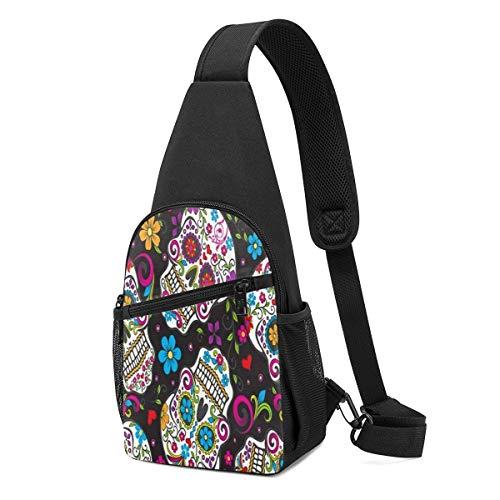 Wearibear - Mochila ligera con diseño de calaveras abstractas y coloridas, ligera, portátil, con correa cruzada, para el pecho, duradera, divertida y divertida mochila para viajar, senderismo, acampada