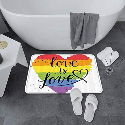 Badematte rutschfest 60x100 cm,Stolz ations, LGBT Homosexuell Lesben Parade Liebe Valentinstag Inspirieren,Bodenmatte oder Badvorleger für Dusche, Badewanne und Toilette - für Fußbodenheizung geeignet