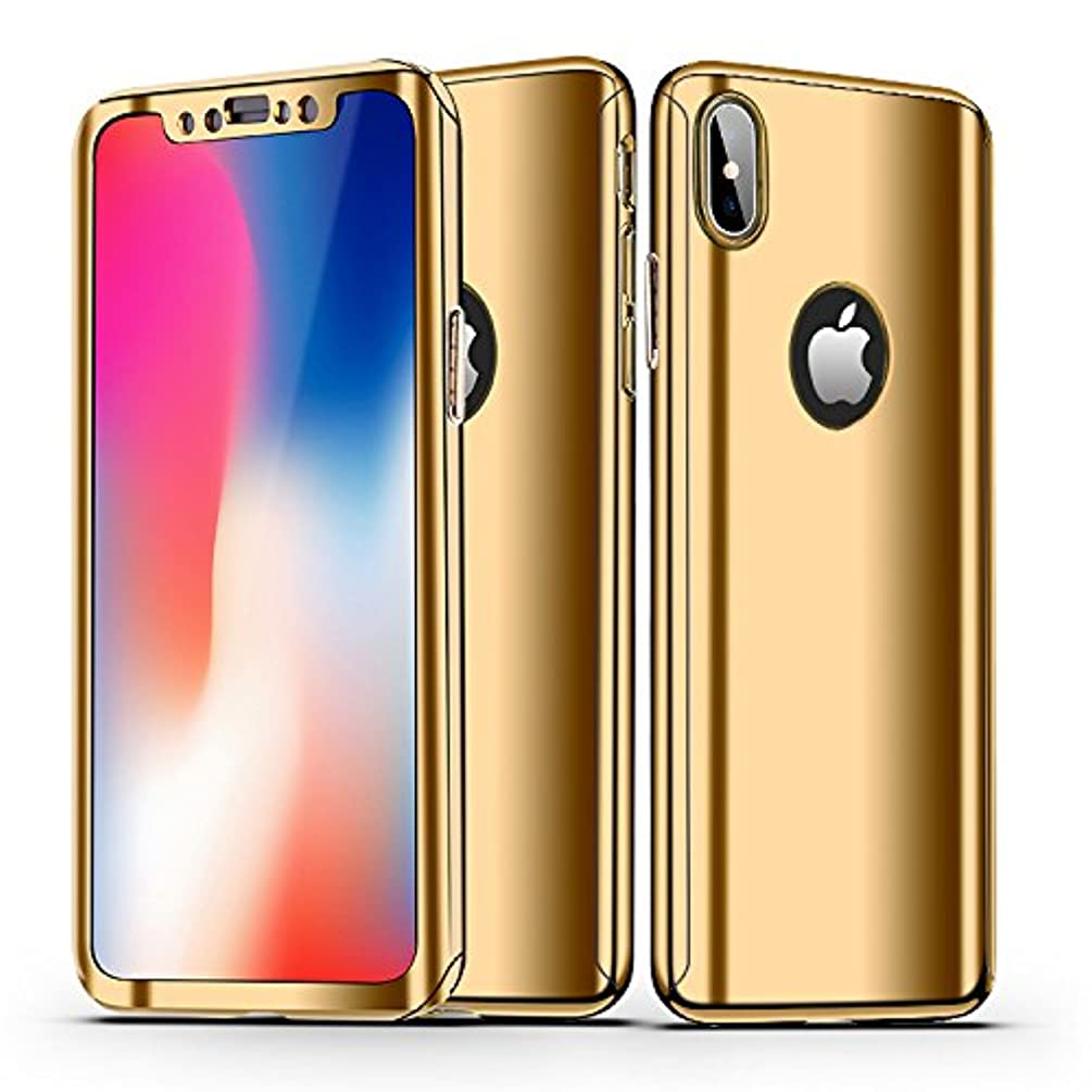 iPhone X Case, AUSURE Ultra Slim Luxury Electroplate 360 Degree Full Body Protection Mirror with Soft Premium Screen Protector Film Hard PC Full Coverage Case for Apple iPhone X (Golden)