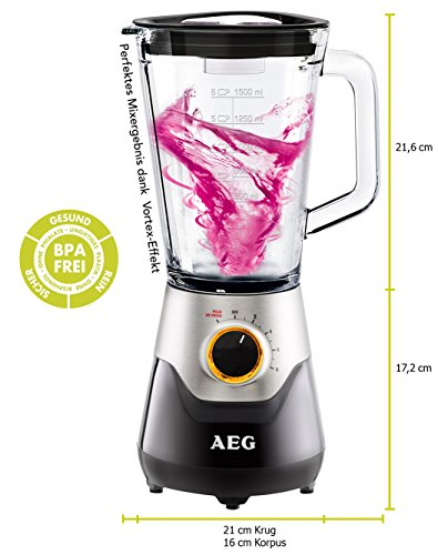AEG PerfectMix Standmixer 5Series SB 5700BK mit 700W und 1,5Liter | Schwarz/Braun mit Edelstahlverkleidung