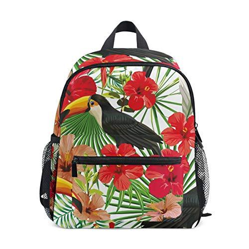 Pappagallo Tucano Uccello Tropicale Zaino per Asilo Nido Prescolare Bambini Studente Bookbag Zainetti per 2-7 Anni Capretto Viaggio Ragazze Ragazzi