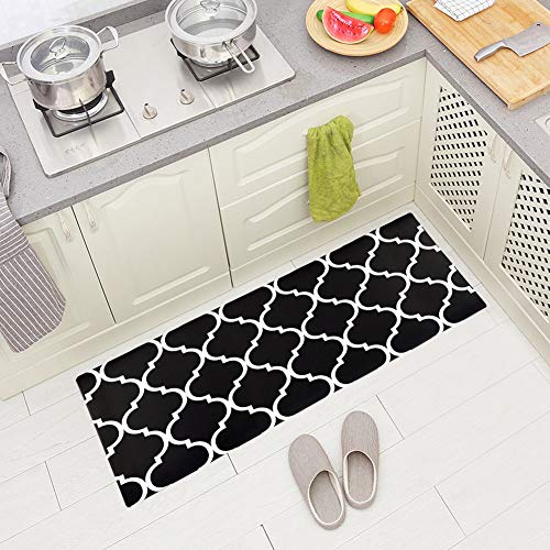 Carvapet Comfort Anti-Fatigue Kitchen Standing Desk Mat Waterproof Decorative Ergonomic Floor Pad Kitchen Rug, Moroccan Trellis Black 18'x47'