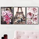 LIANGX Cuadros abstractos con rosa, flores, París, Torre Paloma, Arte de París, Arte de París, Cuadros de París, Cuadros de París, Arte de París, Cuadros de París, Arte de París, Cuadros de Par