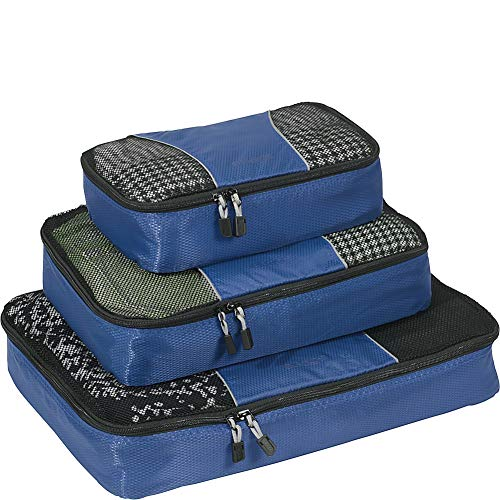 eBags Classic Packing Cubes for Travel - 3pc Set - (Denim)