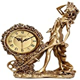 Tingting1992 Alarm Clock Desk Clock Home Desktop Living Room Fashion European Style Clock Pendulum Clock Wine Cabinet Personality Creative Goddess Desk Clock
