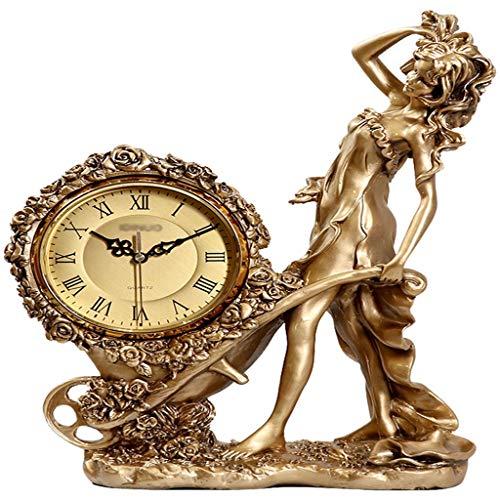 xilinshop Reloj Desk Reloj de Escritorio Home Desktop Sala de Estar Moda Ornamentos de Reloj Europeo Reloj de Vino Refrigerador Personalidad Diosa Creative Goddass Lujo Antiguo Reloj de Mesa Vintage