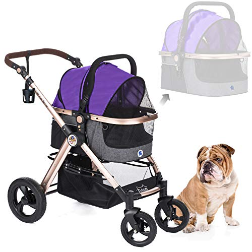 HPZ Pet Rover Prime 3-in-1 Luxury Dog/Cat/Pet Stroller (Travel Carrier +Car Seat +Stroller) with Detach Carrier/Pump-Free Rubber Tires/Aluminum Frame/Reversible Handle for Medium & Small Pets (PURPLE)