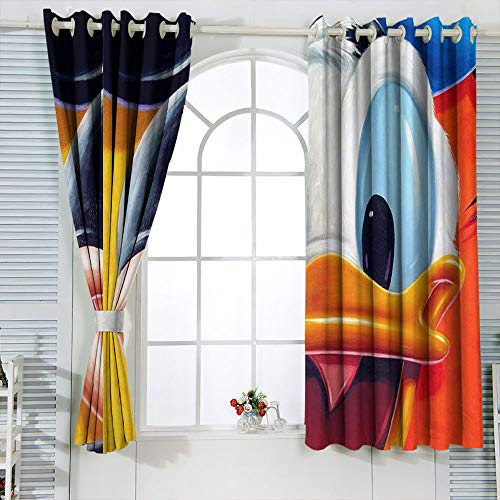 Cortinas con ojales, diseño de Min-nie Mouse para dormitorio infantil, cortina de ventana, tela de 52 x 84 pulgadas