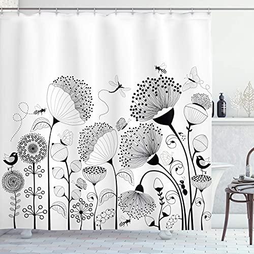 CYPZ Cortina de Ducha en Blanco y Negro, pequeñas Flores Grandes con Mariposas y Abejas, Criaturas, Tela Natural, baño