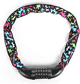 KUCHEQICHE Bicycle Chain Lock, Bicycle Safety Lock With 5-digit Combination Lightweight Bicycle Lock, Size: 72 Inches (length) * 0.5 Inches (diameter), Color: Multi-colored (Color : Multi-colored)