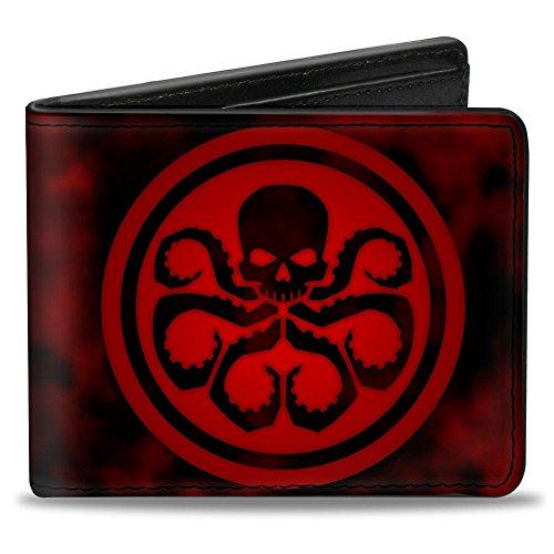 Buckle Down Unisex Geldbörse Marvel Universe Logo + Hydra Smoke Schwarz/Rot Gr. Einheitsgröße, multi