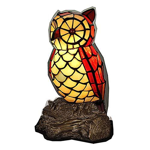YEHEI Lámpara Tiffany Vidriera Hecha A Mano Owl Table Light Lámpara De Mesita De Noche Antigua Lámpara De Noche para La Barra De La Oficina del Hotel del Dormitorio De La Sala De Estar
