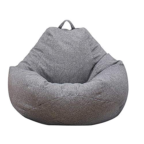 Bean Bag Chair Sofa Cover(No Filler), Lazy Lounger High Back Large Bean Bag Storage Chair Cover Sack for Adults and Kids Without Filling (Dark Gray, XL)