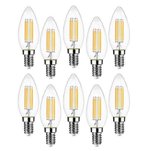 EXTRASTAR Filamento LED E14, 4W Equivalenti a 40W, 400Lm, 3000K Luce Calda,C35 Stile Vintage, Non Dimmerabile, Confezione da 10 Pezzi