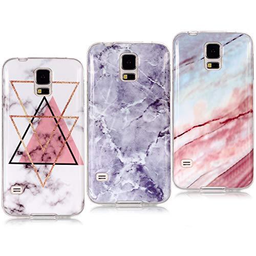 YKTO Funda para Samsung Galaxy S5 G900F 2014 [3 Pack] Mármol 3D Premium Dibujos Contraportada Suave TPU Gel Silicona Protección Anti-Arañazos Carcasa Color Claro