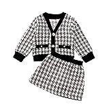 2Pcs Baby Girl Princess Toddler Long Sleeve Plaid Cardigan Jacket Coat + Mini Plaid Tutu Skirt Party Formal Outfit Set