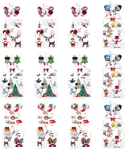 12pcs Christmas Clear Candy Box Transparent Cookie Dolci Scatole quadrate Scatole quadrate Babbo Natale Renna Snowman Xmas Regalo Case Contenitore Contenitore Dettaglio for vacanze Confezione Box Box