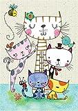 Kits de pintura de diamantes cuadrados para adultos con diseño de gato de dibujos animados, kit de...