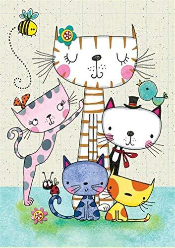 Kits de pintura de diamantes cuadrados para adultos con diseño de gato de dibujos animados, kit de punto de cruz, suministros de arte y manualidades, pegatinas para decoración del hogar, 30 x 40 cm