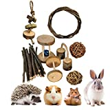 Dbeans Flourithing Guinea Pigs Toys, 8 Pack Natural Wooden Rabbit Toys, Bunny Toys for Exercise Molar Teeth Care, Best Choose for Gerbils, Rats, Birds, and Other Small Pets