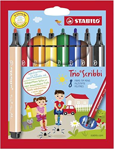 Gefederter Dreikant-Filzstift - STABILO Trio Scribbi - 8er Pack - mit 8 verschiedenen Farben