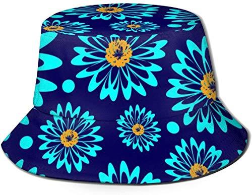 Sombreros de Cubo Transpirables con Parte Superior Plana Unisex Sombrero de Cubo con Silueta de Caballito de mar Azul Sombrero de Pescador de Verano-Flores Azules-Talla única