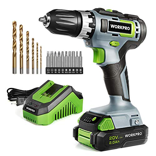 "WORKPRO 20V Cordless Drill/Driver Kit, 3/8"", 18+2 Torque Setting, Variable Speed, 2.0 Ah Li-ion Battery and 1 Hour Fast Charger"