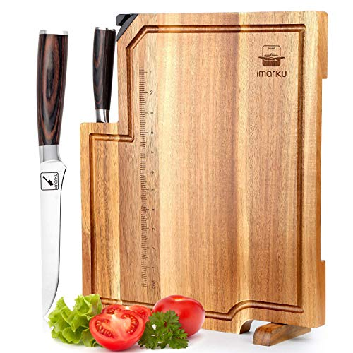 Boning Knife, Acacia Wood Cutting Board - with a Chef's Knife, Cutting Board with Handle & Juice Groove, imarku Wooden Cutting Boards for Kitchen
