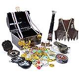 Wizland Treasure Chest,Treasure Chest for Kids,Pirate Chest for Kids,Pirate Accessories,Kids Treasure Chest.(Bronze with Deluxe Accessories)