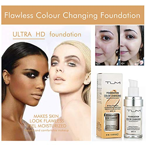 2 Pack TLM Flawless Colour Changing Foundation,Warm Skin Tone Foundation liquid Base Nude Face Moisturizing Liquid Cover Concealer,Concealer Cover Cream (30mlx2)